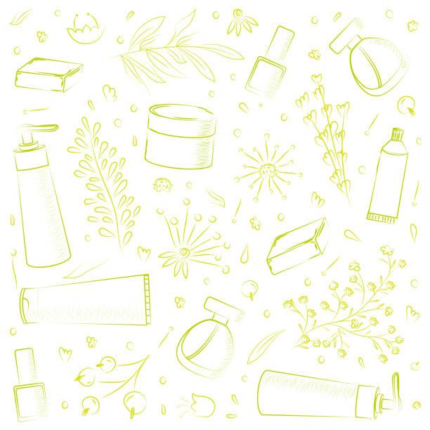 handgezeichnete vektor-design von naturkosmetik - naturseife stock-grafiken, -clipart, -cartoons und -symbole