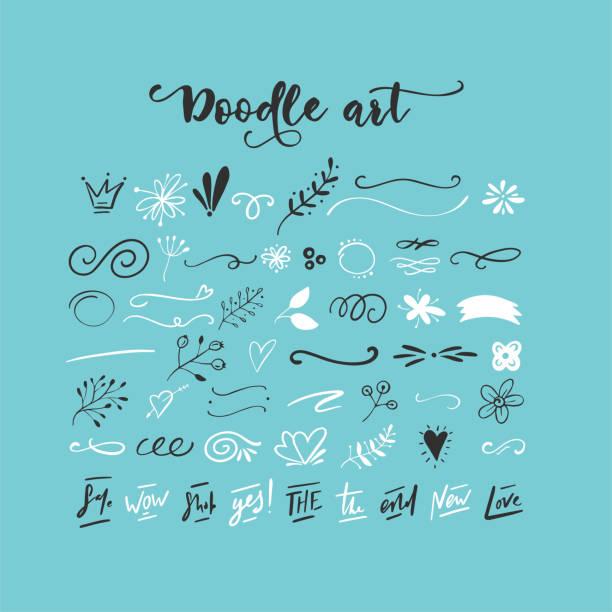 handgezeichneten vektor kritzeleien - designelement stock-grafiken, -clipart, -cartoons und -symbole