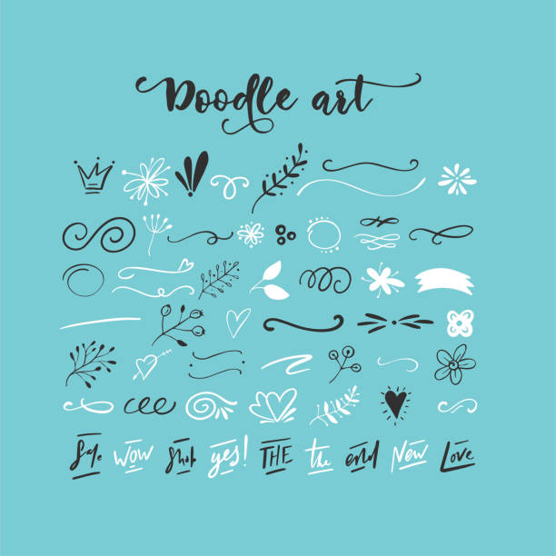 handdrawn vector doodles - doodles stock illustrations