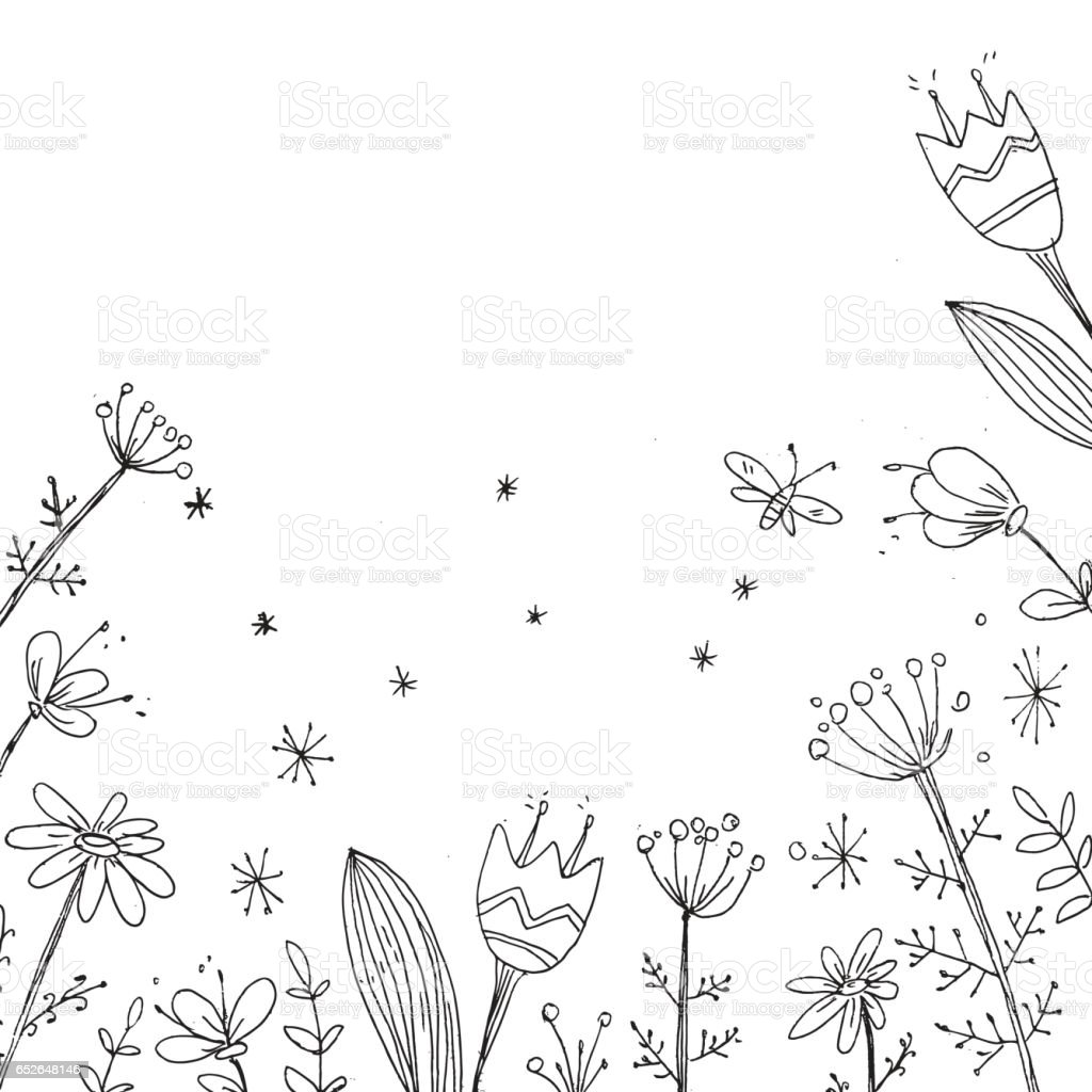 Handdrawn Vector Floral Background Simple Doodle Flowers Black Stock