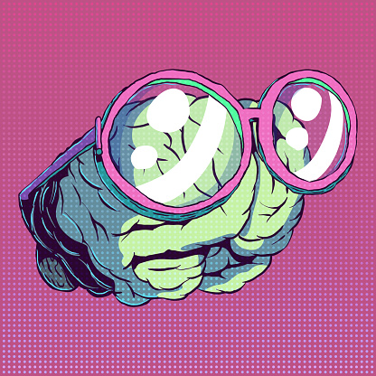 Hand-drawn vector funny comic art - Brain with glasses.