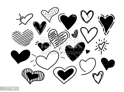 Hand-drawn vector hearts big set. Childish doodles for weddings. love and affection signs