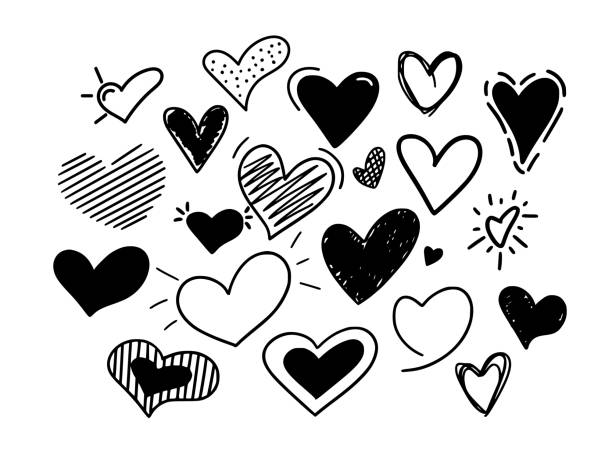 Hand-drawn vector hearts icons big doodle set Hand-drawn vector hearts big set. Childish doodles for weddings. love and affection signs heart shape stock illustrations