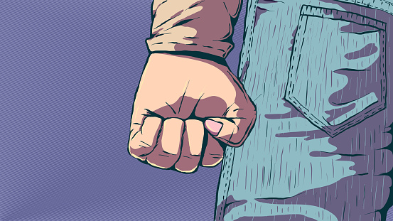 Hand-drawn vector illustration - Clenched fist.