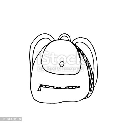 hand-drawn vector illustration, element without background, backpack for camping