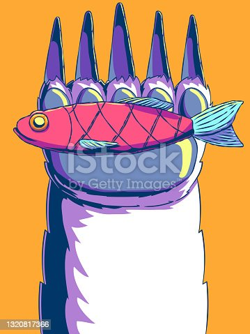 istock Hand-drawn vector illustration - Fish in a bear's paw. 1320817366