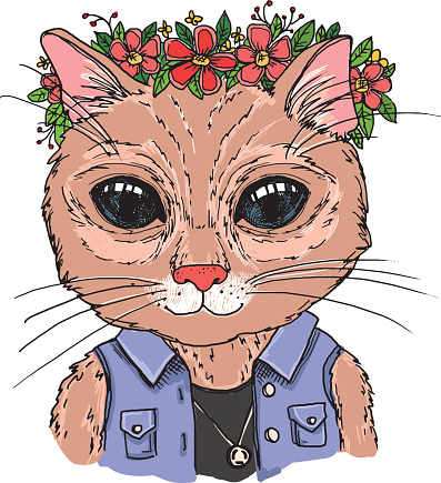 Hand-drawn vector illustration. Hipster cat with wreath of flowers