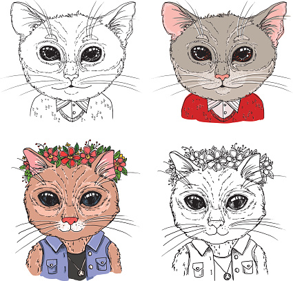 Hand-drawn vector illustration. Hipster cats. Vintage.