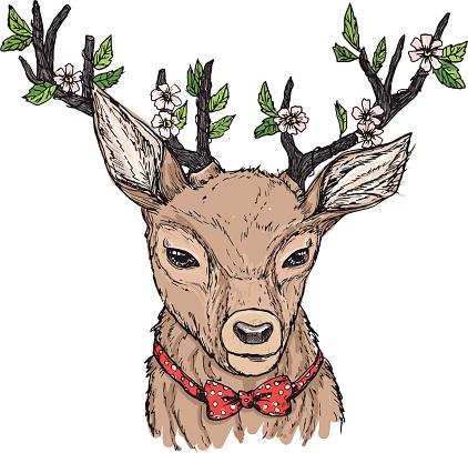 Hand-drawn vector illustration. Hipster deer