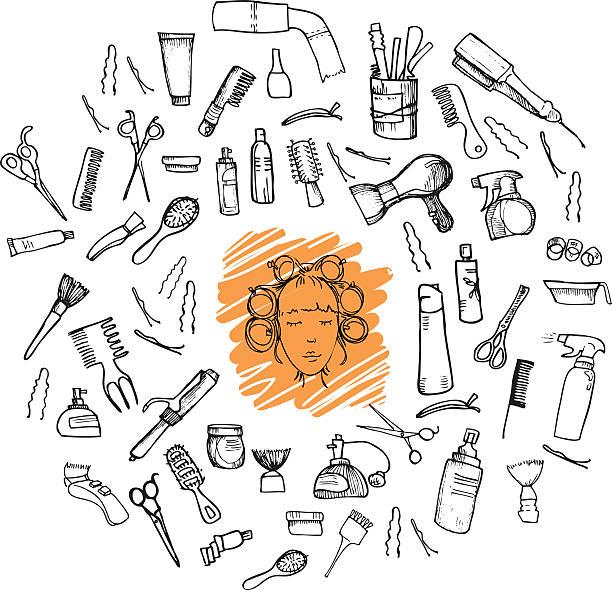 手描きのベクターイラストレーション。メガセットヘアーツール ベクターアートイラスト