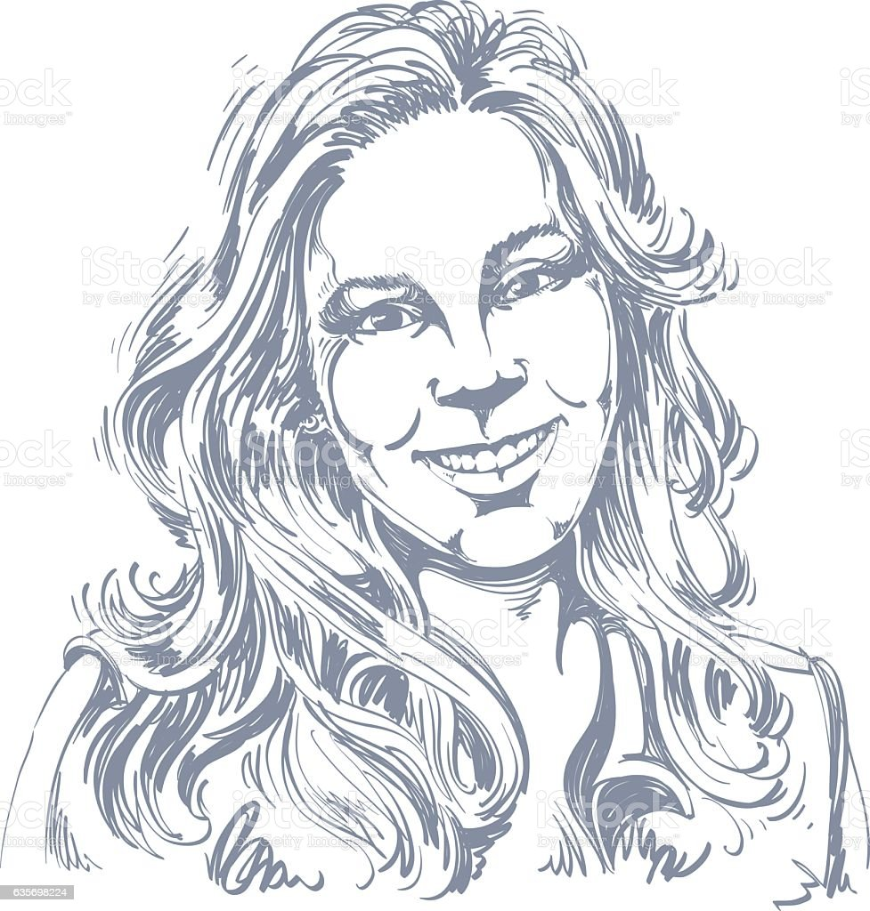 Hand-drawn vector illustration of beautiful smiling woman. Monochrome royalty-free handdrawn vector illustration of beautiful smiling woman monochrome stock vector art & more images of adult