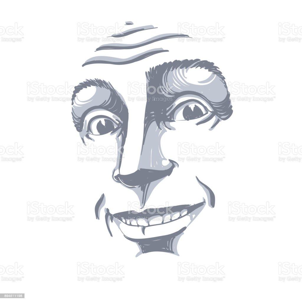 自信を持って男性を笑顔のベクトルの手描きイラストモノクロ イメージは