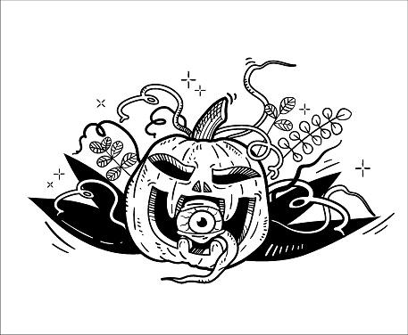 Hand-drawn vector illustration. Scary halloween pumpkin for t-shirt print, poster, flyer, invitation. Black outline