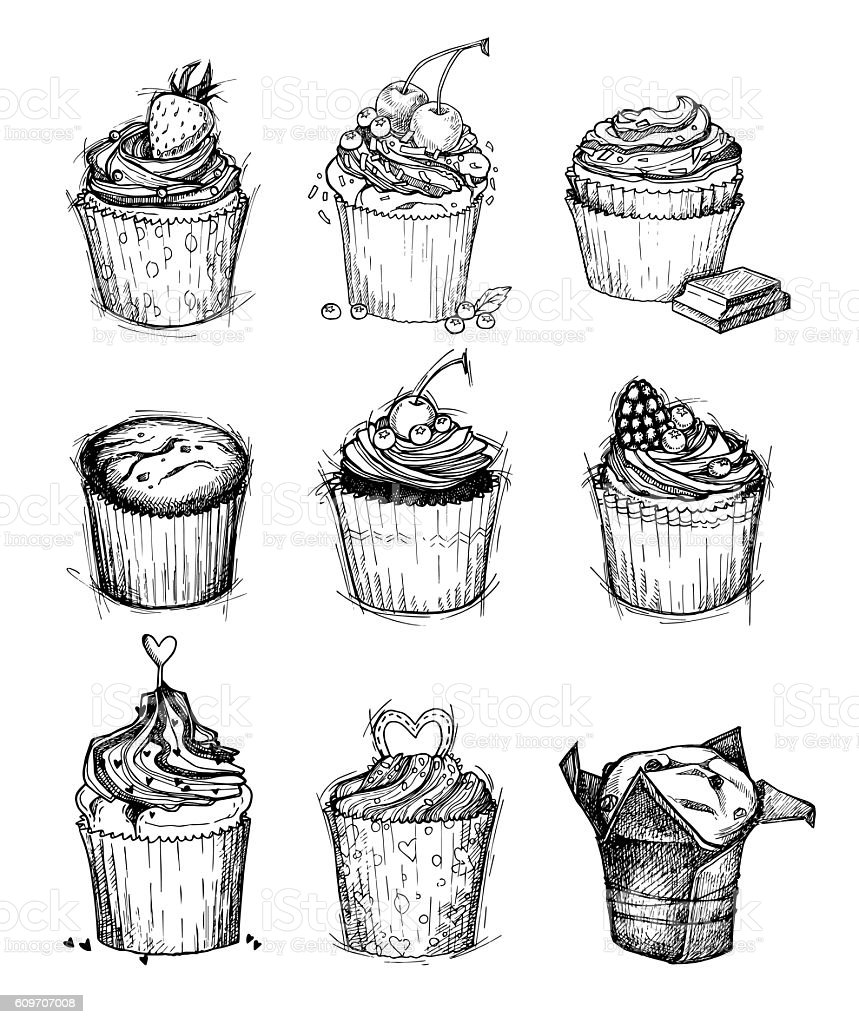 Hand-drawn vector illustration - Sweet cupcakes. vector art illustration