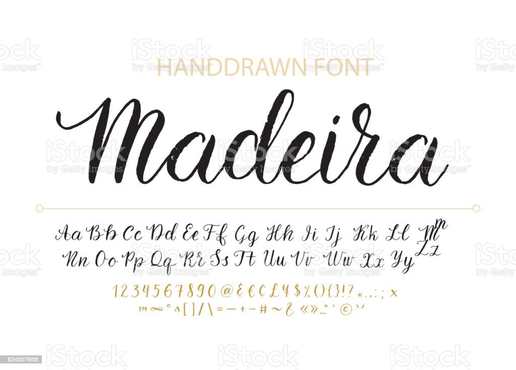 Fonte de handdrawn Vector Script.  Estilo de pincel texturizado caligrafia cursiva typefac - ilustração de arte em vetor