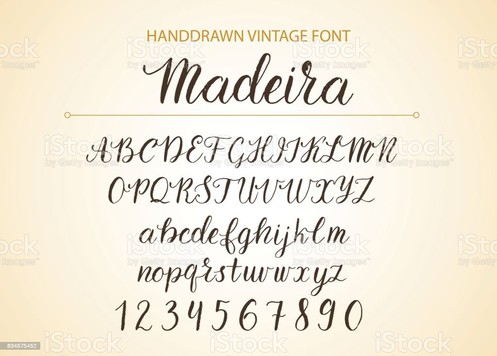 Brush Style Textured Calligraphy Cursive Typefac Royalty Free Handdrawn Vector