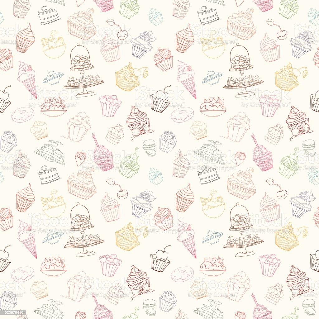 Hand-drawn vector seamless cupcake pattern ilustração de handdrawn vector seamless cupcake pattern e mais banco de imagens de amor royalty-free