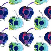 Hand-drawn vector seamless illustration - Skull shaped apple. Apple skull