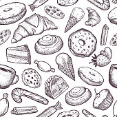 Hand-drawn vector seamless pattern with cookies, cakes, donuts, ice cream and other sweets.