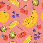 Hand-drawn vector seamless repeat pattern of fresh fruit