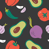 istock Hand-drawn vector seamless repeat pattern of guacamole ingredients 1273200294