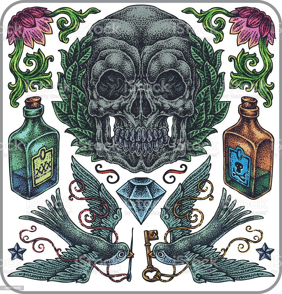 Hand-drawn vector tattoo set, symbolic collection. vector art illustration