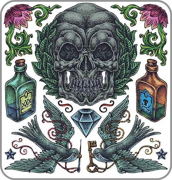 Dibujados a mano vector tatuaje, un símbolo de la colección. - ilustración de arte vectorial