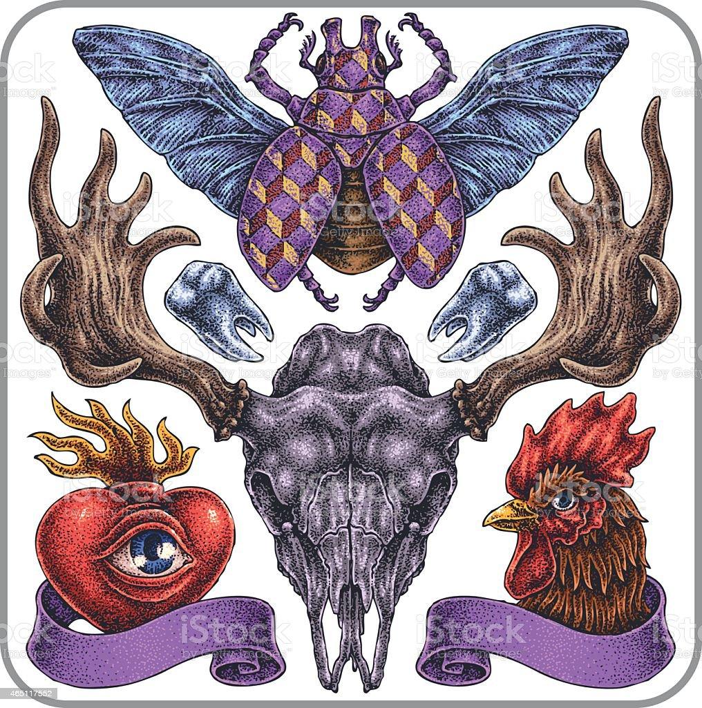 Hand-drawn vector tattoo set, symbolic collection.