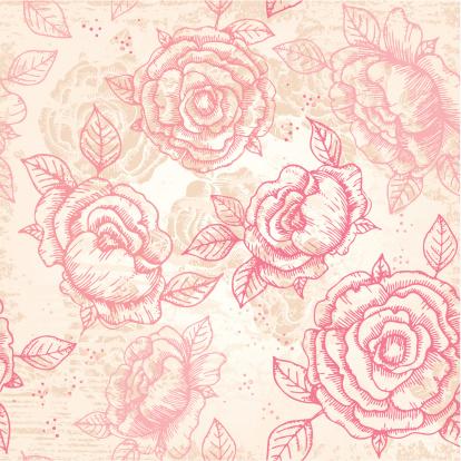 Hand-drawn vintage floral pattern