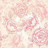 Hand-drawn vintage floral pattern