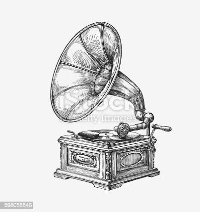 Hand drawn vintage gramophone. Sketch music. Vector illustration