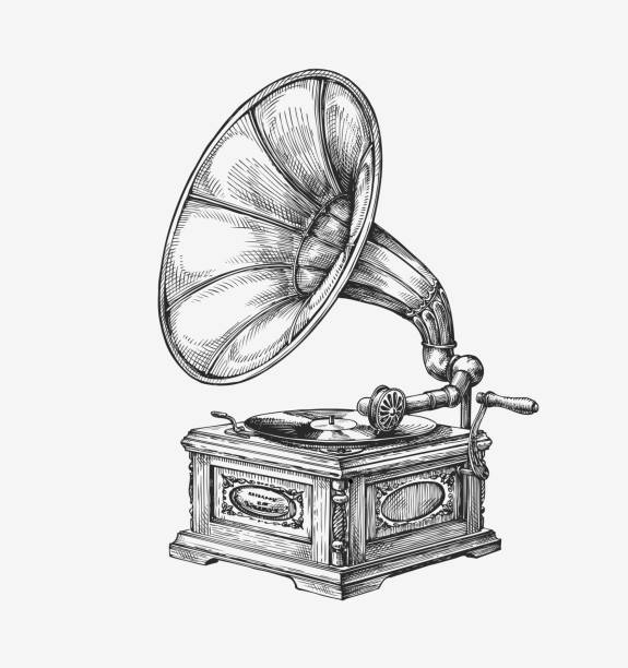 hand-drawn vintage gramophone. sketch music. vector illustration - steampunk stock-grafiken, -clipart, -cartoons und -symbole