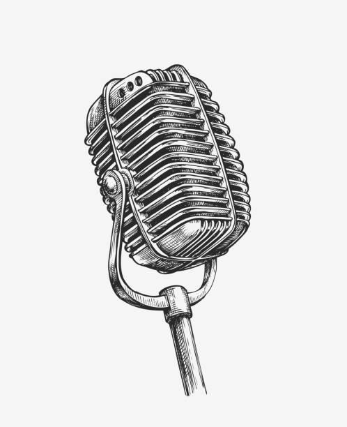 hand-drawn vintage microphone. sketch karaoke. vector illustration - comedian stock illustrations
