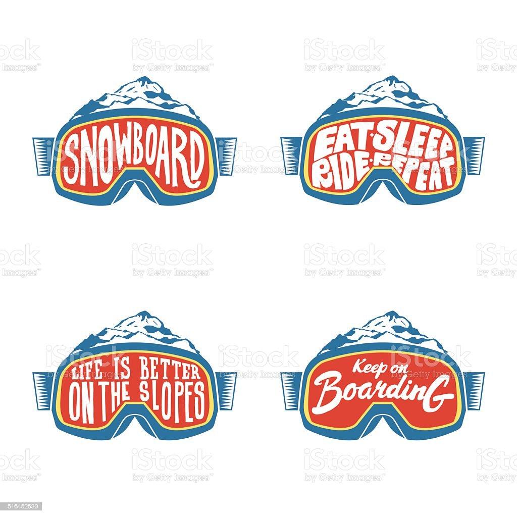 Handdrawn vintage snowboarding quotes vector art illustration