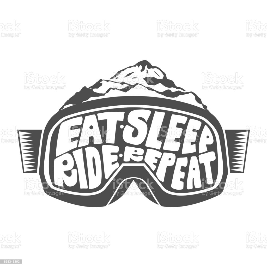 Handdrawn vintage snowboarding quotes vector art illustration