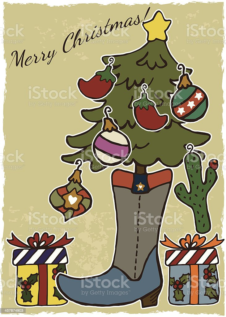 Hand-Drawn Vintage Texas Cowboy Boot Country Christmas vector art illustration