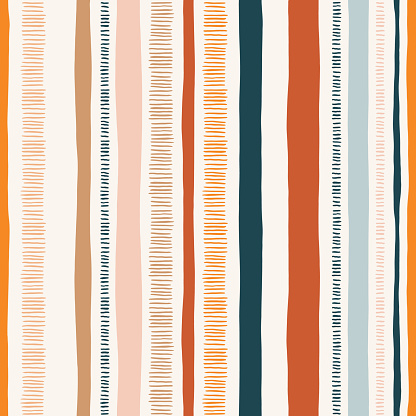 Hand-drawn whimsical textured organic lines and stripes vector seamless pattern. Doodle abstract geometric. Scribbles.