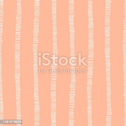 Hand-drawn whimsical textured organic vertical stripes vector seamless pattern. Fresh abstract geometric marks