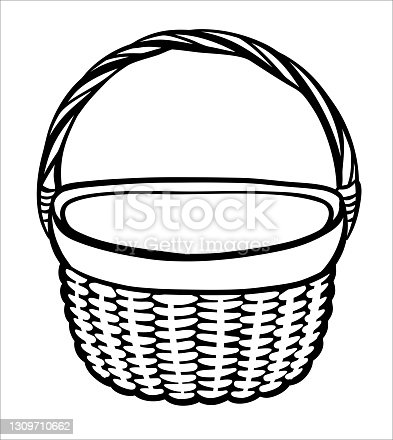 istock A hand-drawn wicker picnic basket or vegetable basket. A black and white basket with a handle made of twigs 1309710662