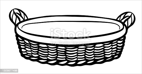 istock A hand-drawn wicker picnic basket or vegetable basket. A black and white basket with a handle made of twigs 1309877496