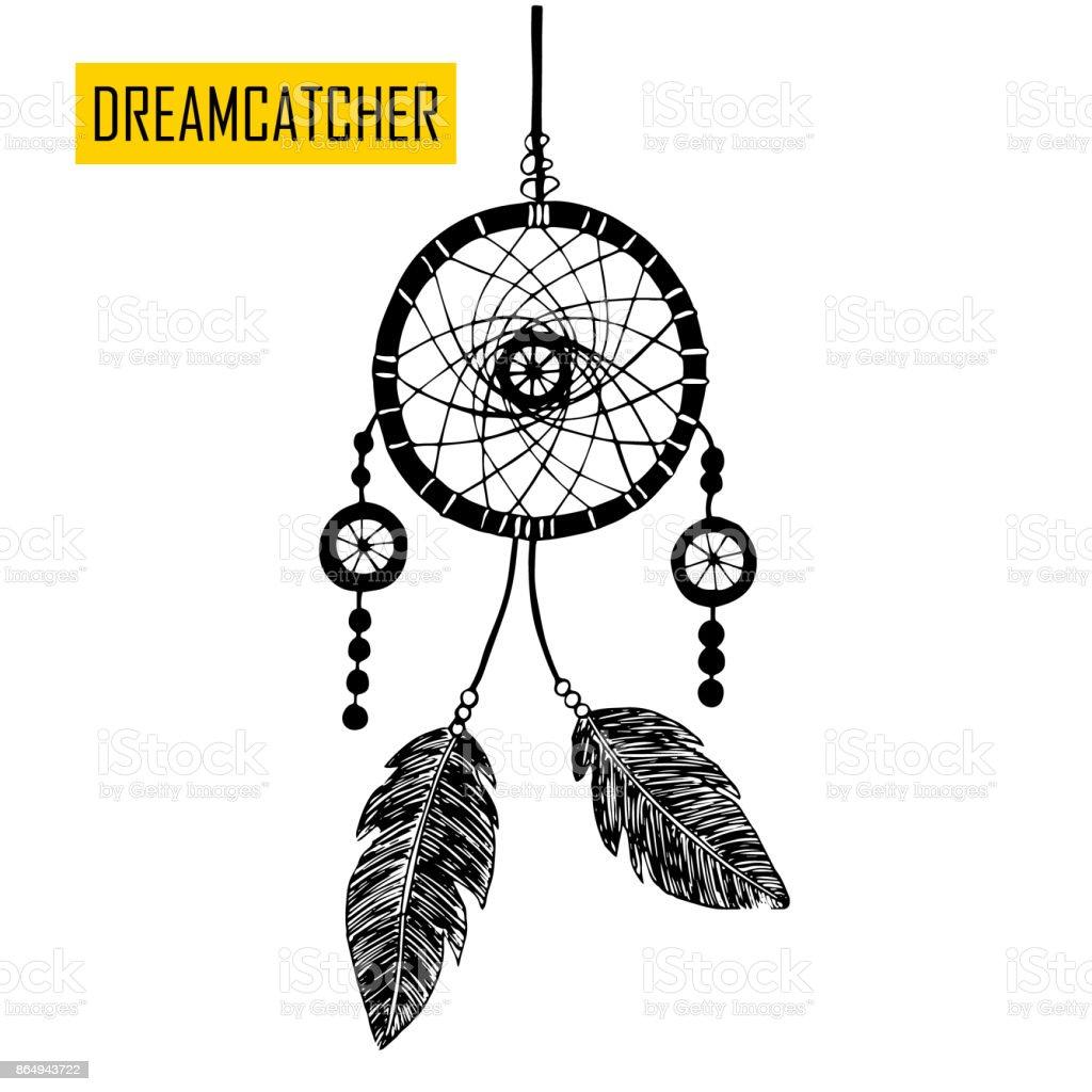 Dessinés à la main avec encre dreamcatcher avec des plumes. - Illustration vectorielle
