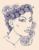 Decorative beautiful woman face.