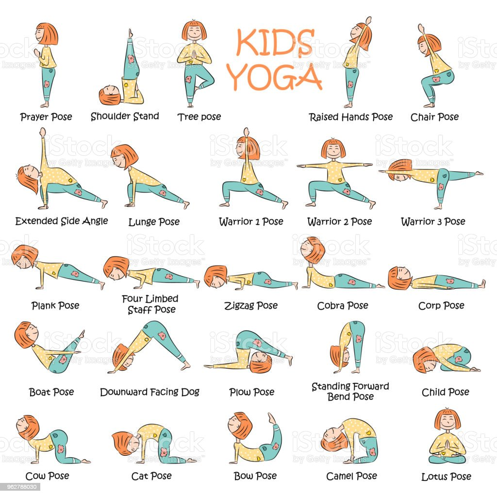Handdrawn Yoga Kids Set Stock Illustration Download Image Now Istock