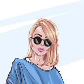 Hand-drawn young beautiful blonde girl in sunglasses.  Fashion illustration of a stylish look.  Vector  for design t-shirts typography cards and posters.