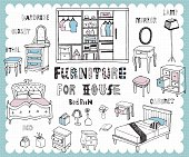 Illustration with furniture for bedroom related words in hand drawn style