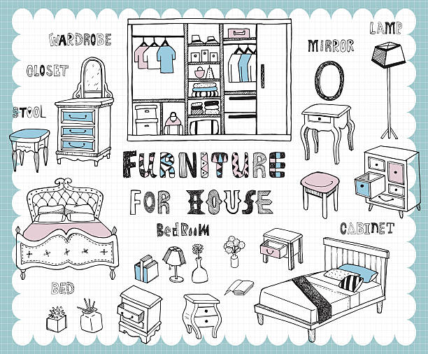 Handdrawn_homefurnishing_bedroom Illustration with furniture for bedroom related words in hand drawn style  bedroom drawings stock illustrations