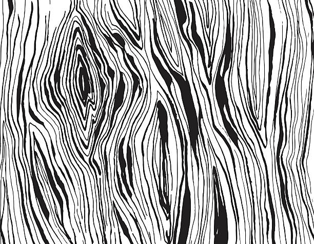 Handdrawnn grungy wooden texture. Black and white vector art illustration