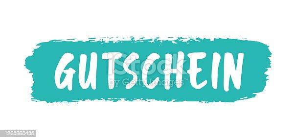 istock Handgeschriebenes Wort GUTSCHEIN als Logo, web ad banner. Lettering für Poster, Flyer, Werbung, Web Banner, Geschenk, Karte Hand sketched word GUTSCHEIN in German as banner. Translated VOUCHER. Lettering for Poster, Flyer, Ad, Web 1265660435
