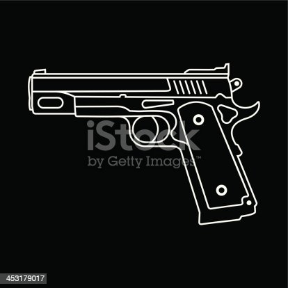 Automatic Pistol - isolated vector icon on black background. Graphic design.