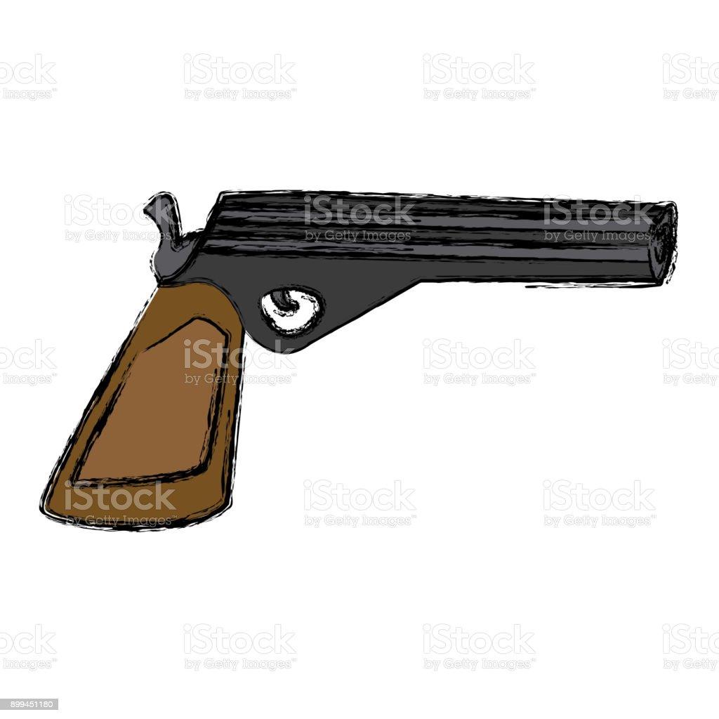 Arma pistola isolada - ilustração de arte em vetor